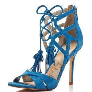 Sam Edelman Blue Suede Aimes Strappy Tassel Heels